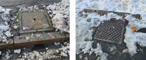 Tombini puliti dalla neve