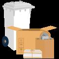 Bidone bianco/Pacchi legati o scatole di cartone