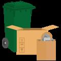 Bidone verde o pacchi legati/scatole di cartone